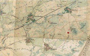 A lelőhely a 2. katonai térképen jelölve (Forrás: http://mapire.eu/hu/)