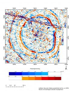 A lelőhely szűrt mágneses anomália térképe (Készítő: Archaeológiai Kulturális Közalapítvány)